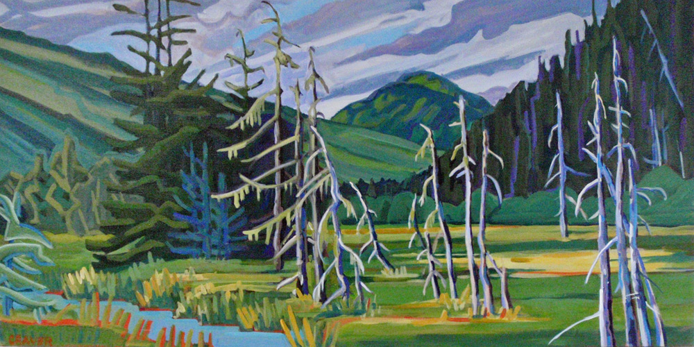 "Herbert River Bog, 36"" x 18"" Acrylic"