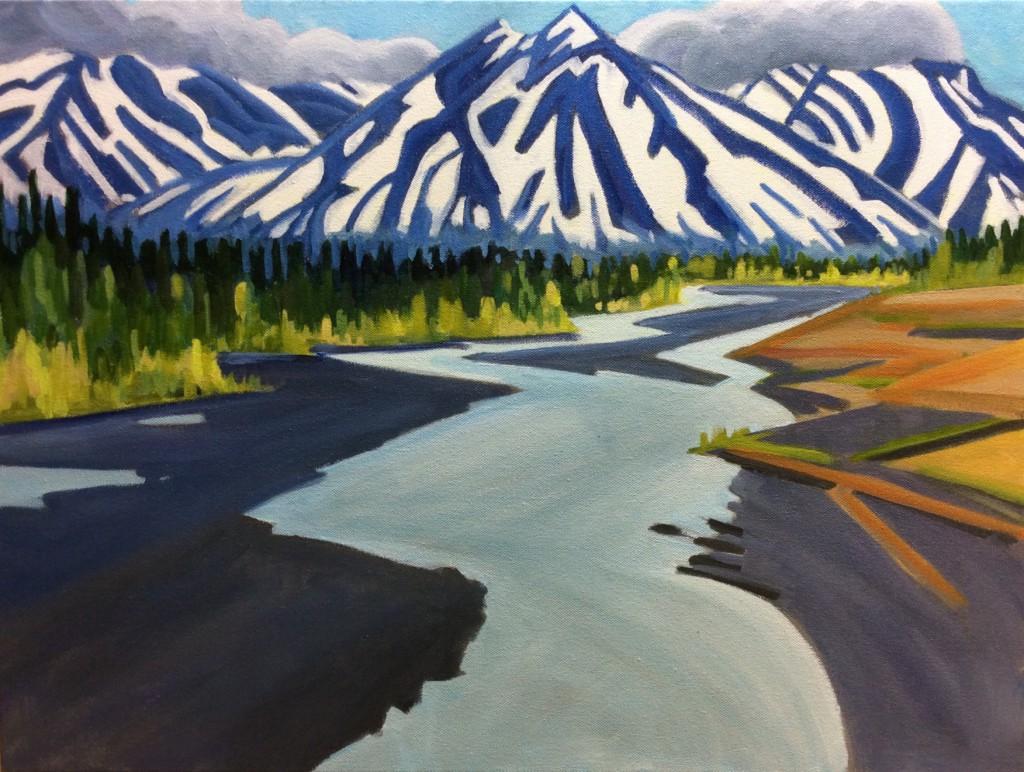 Quill Creek Yukon, acrylic painting 18 x 24